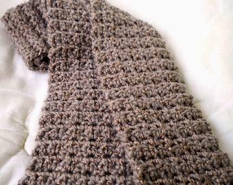 Crocheted Scarf Cafe au Lait Turkish Yarn w Copper Threading