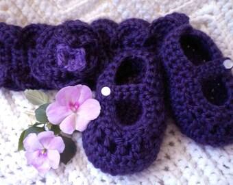 Crocheted Plum Maryjanes, Headband Infant 9-12 mo