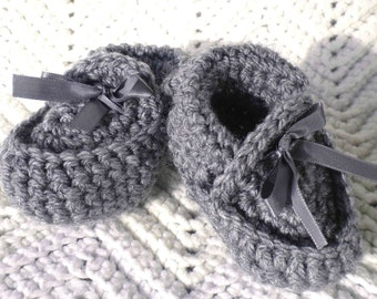 Crocheted Baby Moccasins Heather Grey Newborn & Infant Sizes