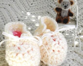 Crocheted Booties Preemie Baby Antique White Baby Yarn