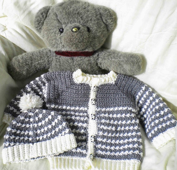 Crocheted Baby Boy Grey Sweater Set