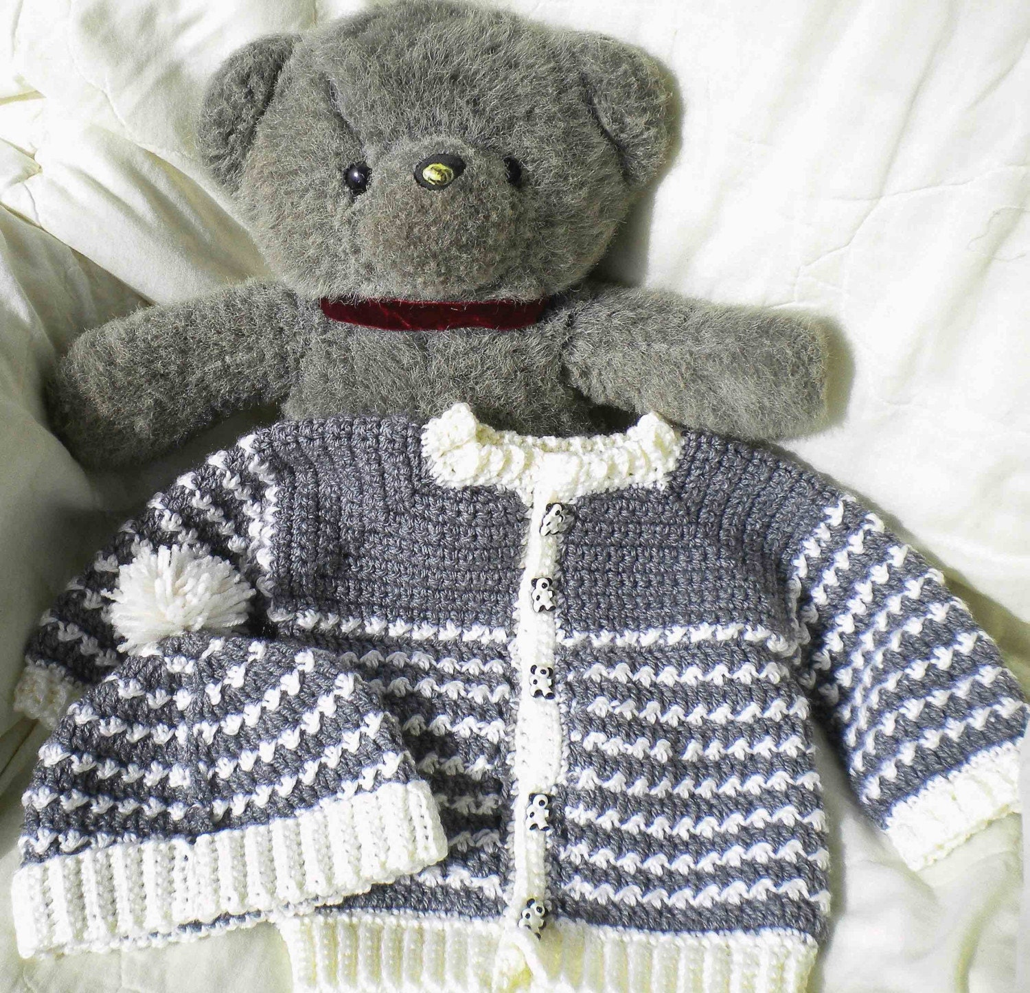 Crochet Baby Boy Hooded Sweater Pattern : Crocheted Baby Boy Grey Sweater Set