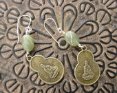 Smooth Jade Quan Yin Earrings-Sterling Silver