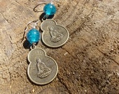 Recycled Blue Glass Quan Yin Earrings No.4
