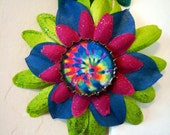 Hair Clip and Pin-Tie Dye bottle cap on pink, blue and green flowers - One of a kind
