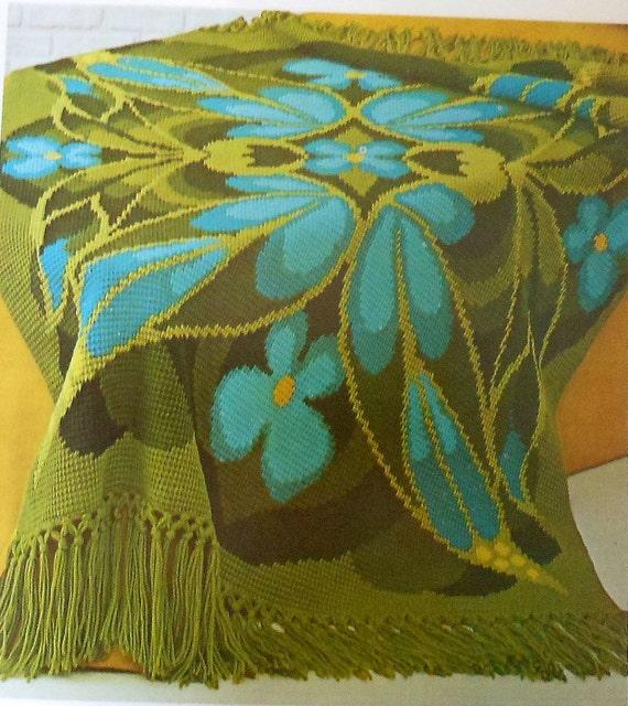 Retro 70's Butterfly Afghan Crochet Pattern MOD afghan stitch