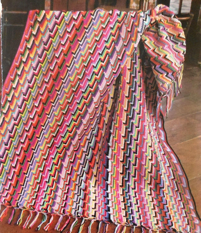 Vintage Retro Narrow Step Motif Afghan Crochet By