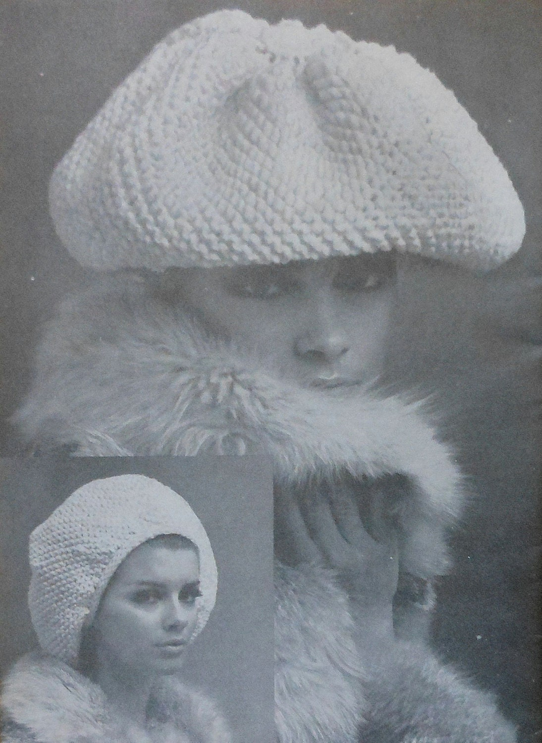 Oversized Beret Knitting Pattern : Vintage Retro Oversized Beret Knitting Pattern by latenightcoffee