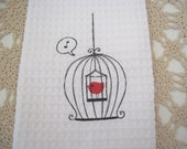 Birdcage with Red Bird White Tea Towel dish towel