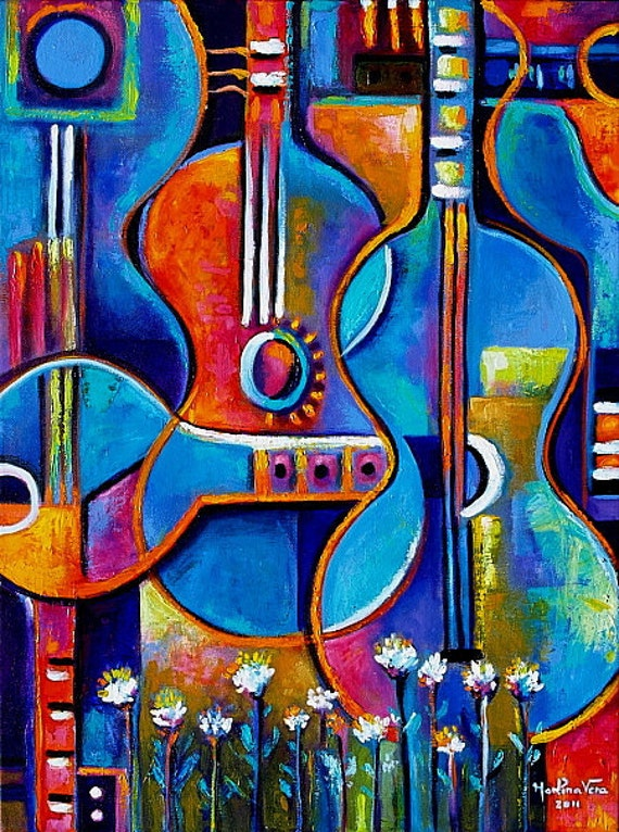 Abstract Original Impasto Acrylic Painting Guitars And Flowers Marlina Vera Cubist Art