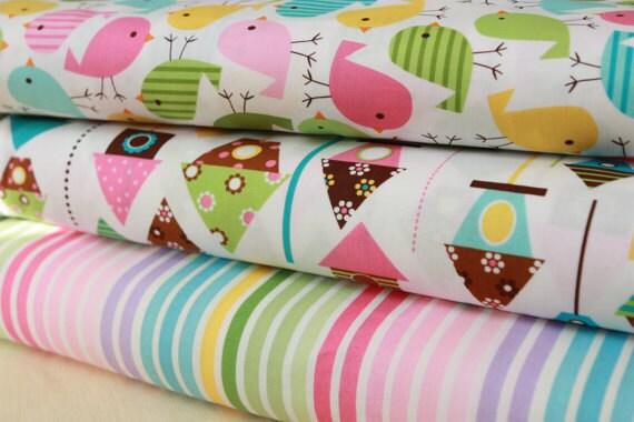 Bumperless Crib Bedding--3PC Set--Urban Zoologie Spring--Skirt, Sheet, Blanket