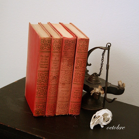 vintage MUSIC BOOKS turkey red DISPLAY composers classical music / holiday prop