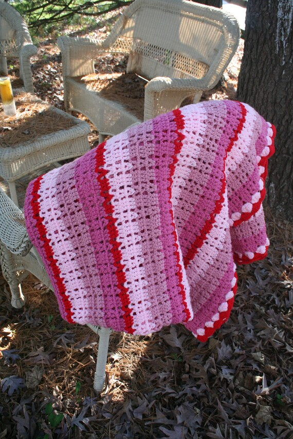 "vintage crochet AFGHAN blanket BUBBLEGUM PINK & red / striped / retro kitch . 67"" x 62"""