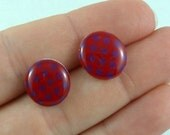 Polka Dot Red Purple Post Earrings - Surgical Steel Posts