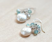 White Freshwater Coin Pearl with Opal and Clear Swarovski Crystals in 925 Sterling Silver Wire Earrings