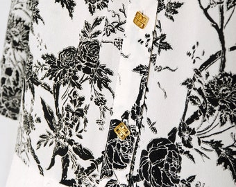 Birds and Flowers vintage 80s Chinese line drawing dress ( m )