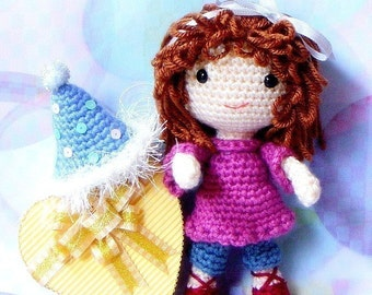 Amigurumi - Birthday Girl N her balloons - Crochet Amigurumi doll patterns / PDF