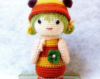 Amigurumi kokeshi pattern - B Bee - Crochet Kokeshi doll tutorial PDF