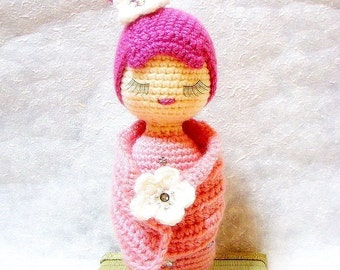 Amigurumi Kokeshi pattern - Sakura - Crochet Kokeshi tutorial PDF