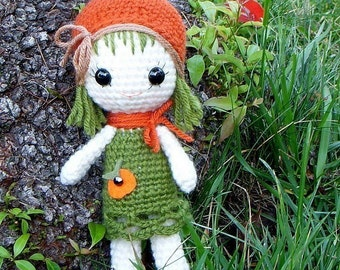 Amigurumi doll pattern - Orange / Pumpkin Qtie - Corchet Amigurumi toy pattern / PDF