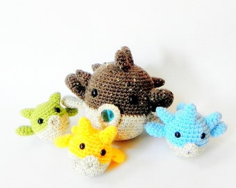 Amigurumi fish patterns - Mommy and babies puff fish - 2 Aniaml Crochet PDF
