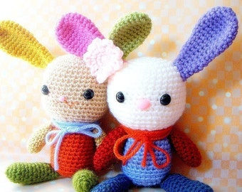 Amigurumi bunny pattern - Rainbow Bunny - Crochet  animal tutorial PDF