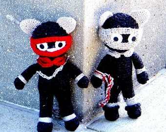 Ninja Cats in Actions - Crochet Amigurumi dolls  patterns / 2 versions