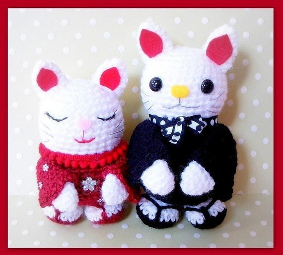 Amigurumi Cat Pattern Japanese : Pattern-Japanese Maneki Neko/ Lucky Cat couple /2 Amigurumi