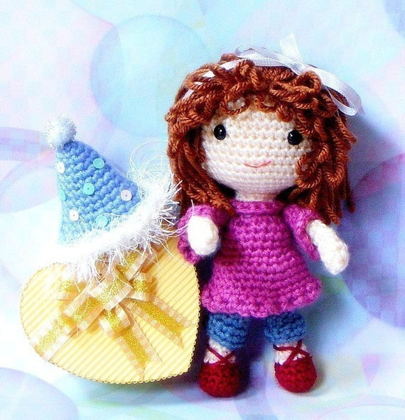 Birthday Girl N her balloons - Crochet Amigurumi  patterns / PDF
