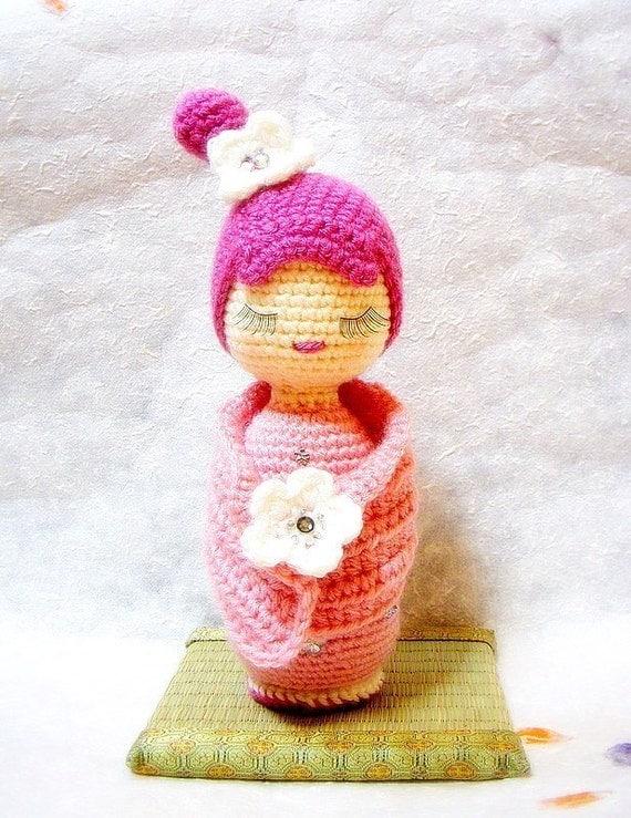 Crochet Pattern For Yoda Doll : Sakura Crochet Amigurumi Kokeshi doll pattern / PDF