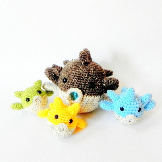 Amigurumi fish patterns Mommy and babies puff fish 2