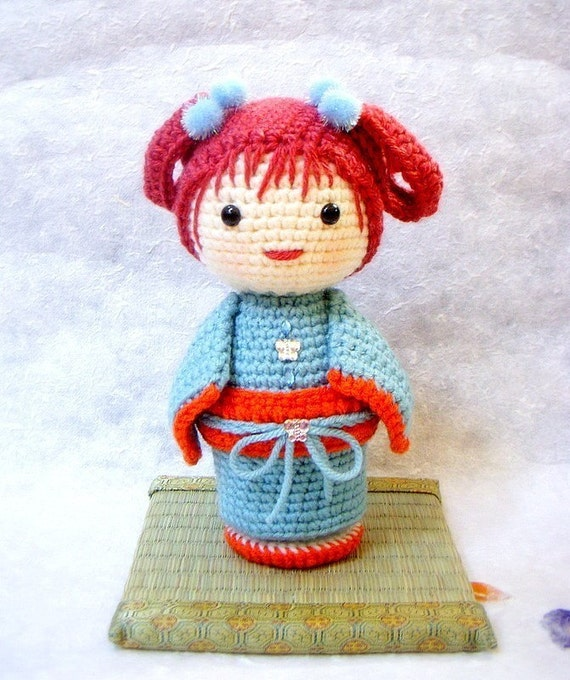 Crochet Amigurumi pattern ChoCho Kokeshi doll tutorial PDF