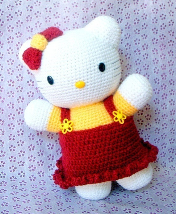 Amigurumi kitty pattern - 12.5 inches x 8 inches Huggy kitty -  Toy / doll pattern / PDF