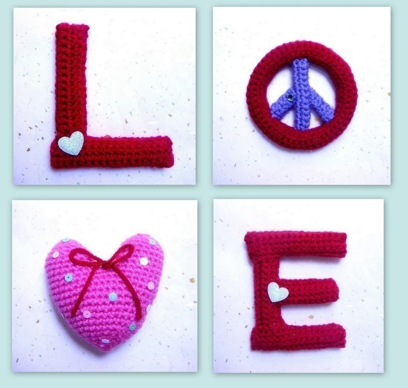 Amigurumi Love Tutorial : Amigurumi LOVE Crocheted Amigurumi 4 letters patterns