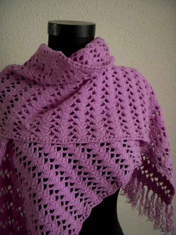 Purple crochet shawl