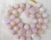 Pink Morganite Pebble Necklace 22k Vermeil Handstrung