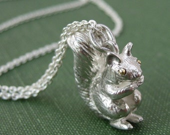 Squirrel Pendant Charm 18k Gold Eyes Sterling Silver