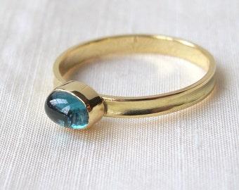 Blue Tourmaline 18k Gold Skinny Stacking Ring