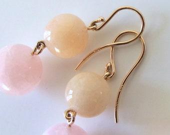 Pastel Beryl Morganite 18k Pink Gold Sunset Earrings