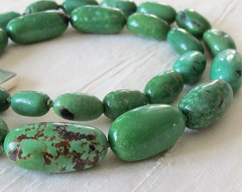 Viridian Green Turquoise Oval Nugget Necklace Sterling Silver