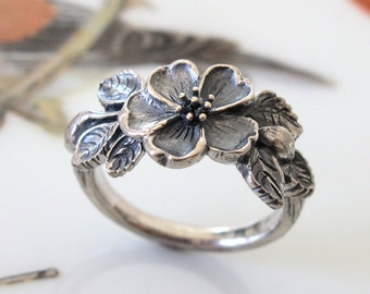 Heirloom Rose Flower Ring Handmade Sterling Silver