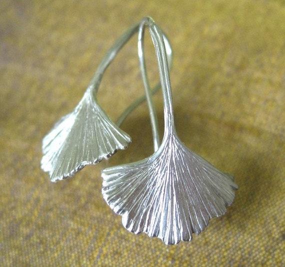Ginkgo Leaf Earrings Sterling Artisan Silver Fine Jewelry