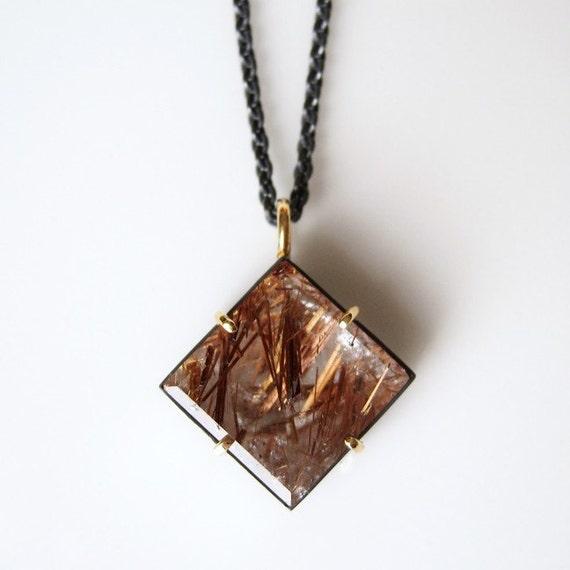 Reserved for Diane -Rutilated Square Quartz Talisman Pendant Oxidized Silver 18k Gold No. 8