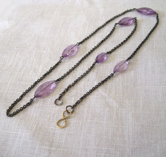 Amethyst Layering Necklace Oxidized Silver 18k Gold