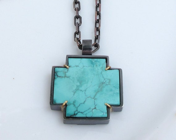 RESERVED- Turquoise Cross Artisan Silver 18k Gold Pendant No. 2
