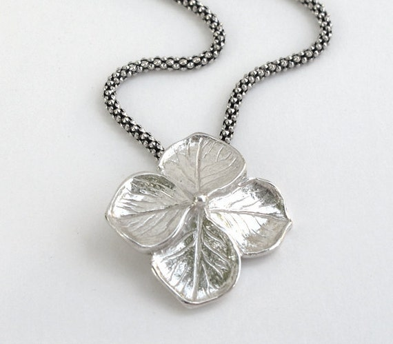 Hydrangea Petal Sterling Silver Pendant Handfinished