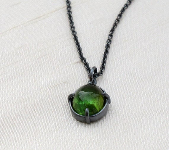 RESERVED-Green Tourmaline Pendant Charm Necklace Oxidized Sterling Silver