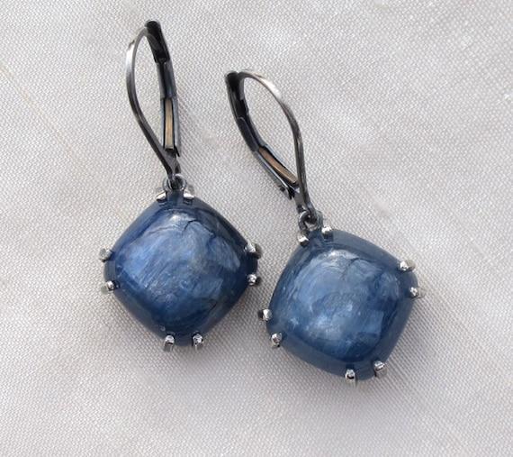 Indigo Blue Kyanite Earrings Sterling Silver