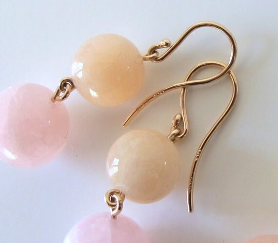 Pastel Beryl Morganite 18k Pink Gold Sunset Earrings