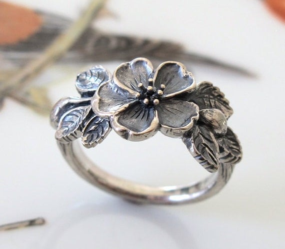 heirloom flower ring handmade sterling silver